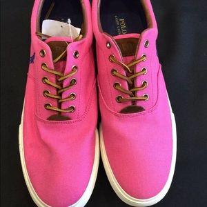 👕 Men's Ralph Lauren Polo Sneakers Pink 14👕
